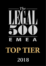 Legal500 top tier firm 2018